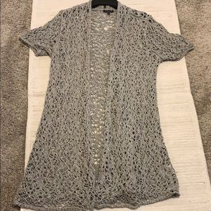 Eileen Fisher woman crochet Cardigan soft gray